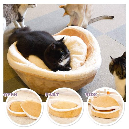 Flannel Cute Pet Cat Orthopedic Oval Hamburger Bed Kennel Pet Warm