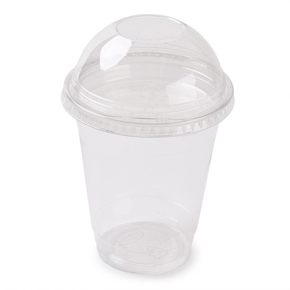 A World Of Deals Plastic CLEAR Cups with Flat Lids for Iced Coffee Bubble Boba Tea Smoothie,100 Sets 16 oz by A World of Deals��