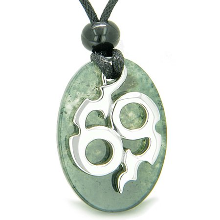 Amulet Infinity Symbol Magic Fire Energy Lucky Charm Moss Agate Pendant Necklace