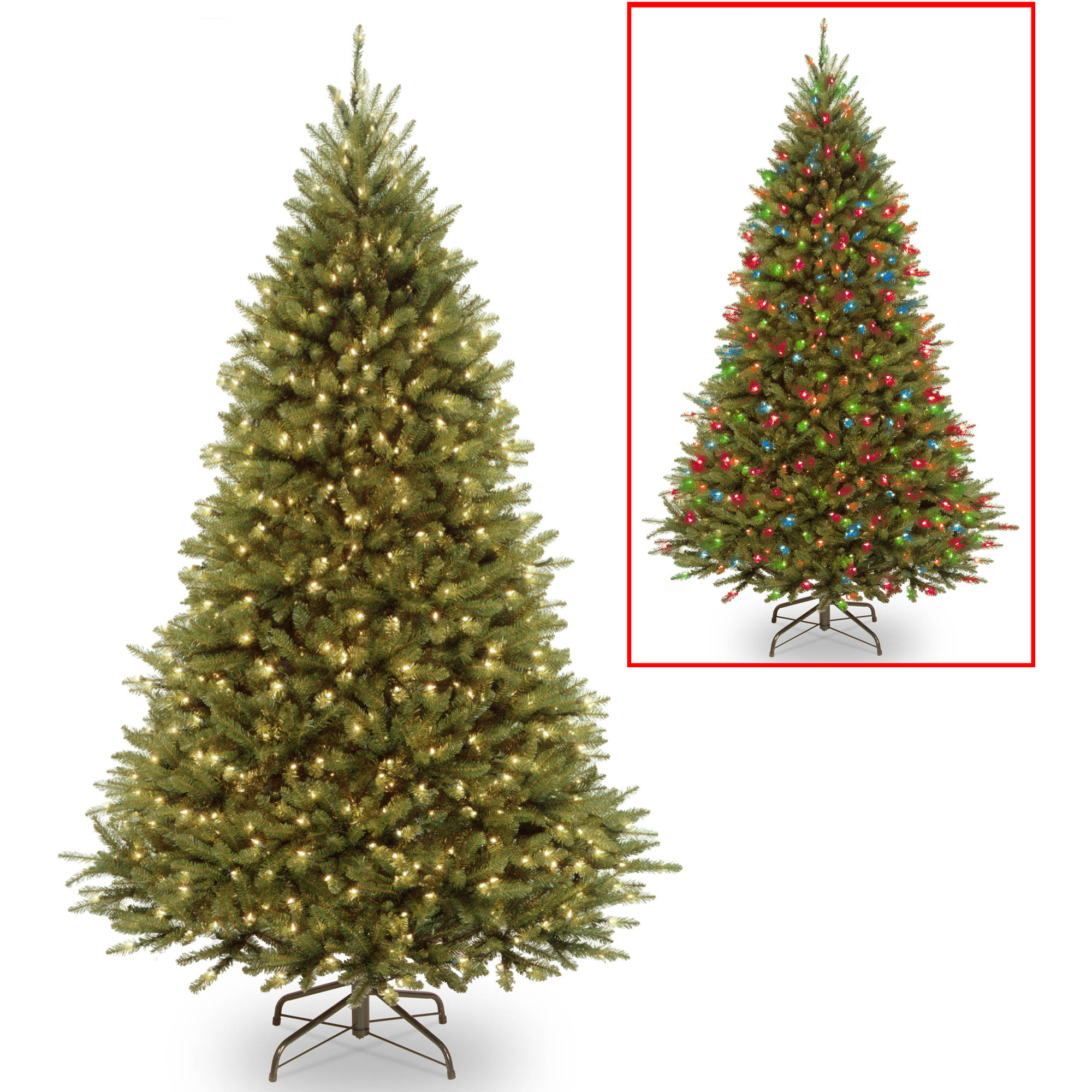 3 battery operated pre lit led pine artificial christmas tree multi lights walmartcom - 8 Ft Christmas Tree