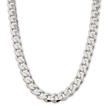13mm Curb - 925 Sterling Silver 13mm Link Curb Chain Necklace 22 Inch Man Pendant Charm Flat Beveled Gift For Dad Mens For Him