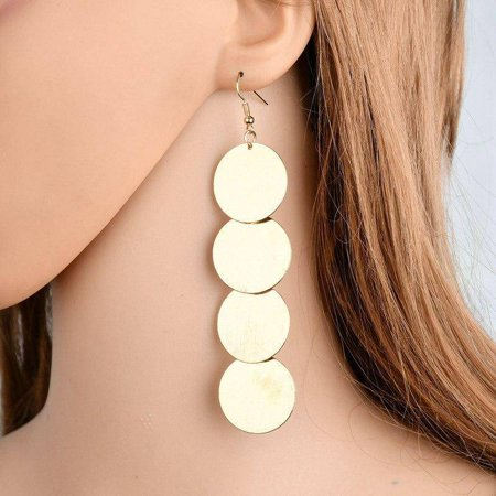 ON SALE - Dangling Burnished Circles Earrings in Gold or Silver Gold