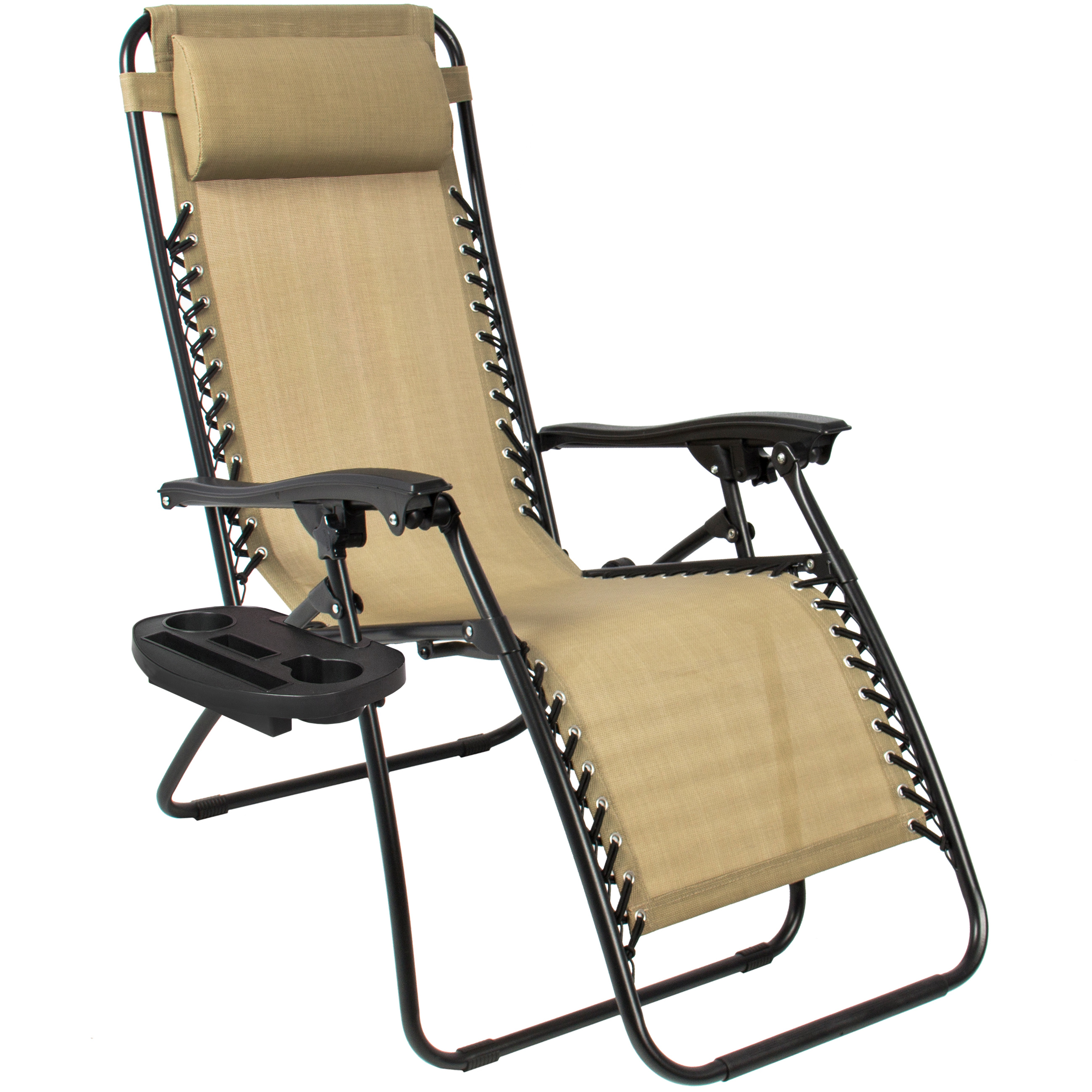zero gravity chairs case of 2 tan lounge patio chairs outdoor yard beach new