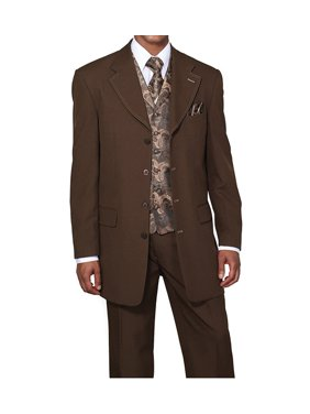 Single Breasted ,Double Vent, Fashion Suit With Vest, Tie & Hankie