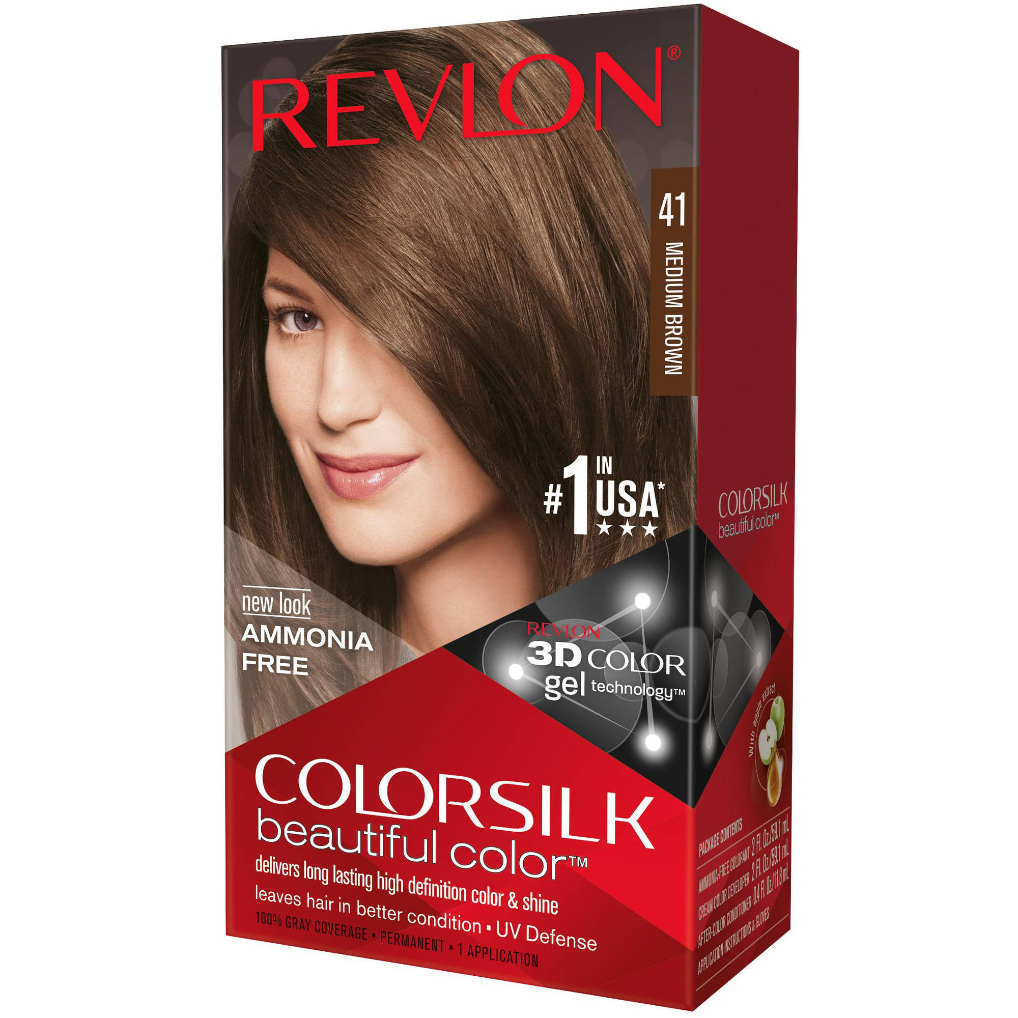 Revlon Colorsilk Beautiful Color Permanent Hair Color, 41 Medium Brown