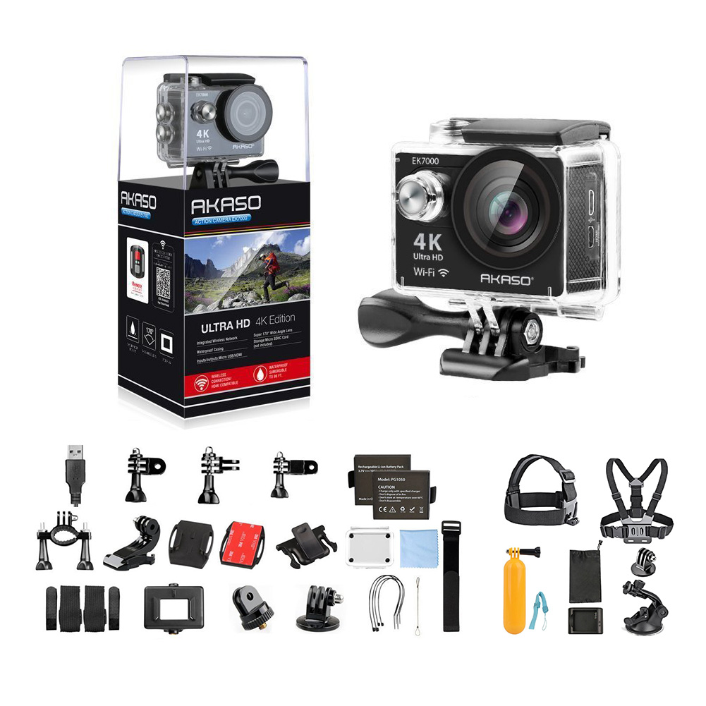 AKASO EK7000 4K Action Camera WIFI Ultra HD Waterproof Sports DV Camcorder 12MP 170 Degree Wide Angle + 7 in 1 Camera Accessories & 1 Year Extended Warranty-Black