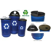 Witt Industries SC55P-02R-BS-RHH Perforated Steel Recycling Receptacle With A Recycle Hood Top
