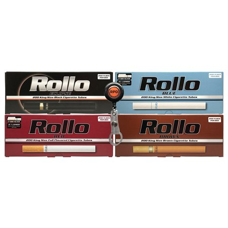 Bundle - 5 Items - Cigarette Tube Sampler, Rollo Eclipse, Rollo Blue, Rollo Red, Rollo Brown with Rolling Paper Depot Lighter (Premium Cigar Sampler)