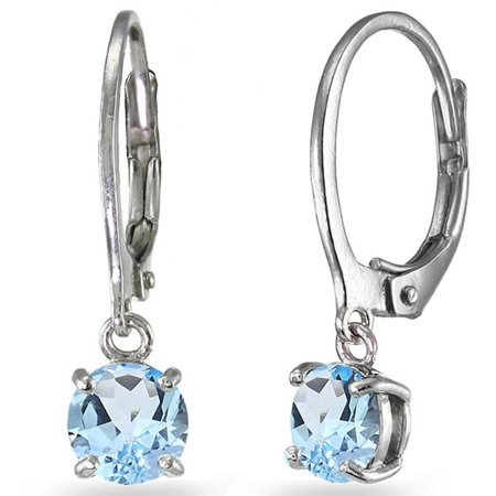 Blue Topaz Sterling Silver 6mm Round Dangle Leverback Earrings ()