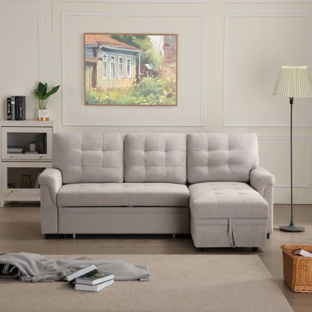 33'' x 86'' x 54.5'' Modern Upholstery Sleeper Sofa with Pull-Out Storage Twin Size Sleeper, Modern Sectional Sofas Bed with Chaise Lounge, Square Arms, Solid Wood Frame, 500lbs, Beige, S1768