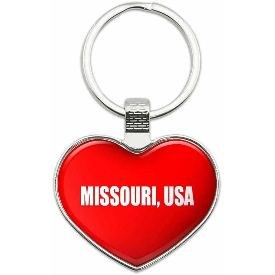 Missouri USA - State in USA Metal Heart Keychain Key Chain Ring, Red