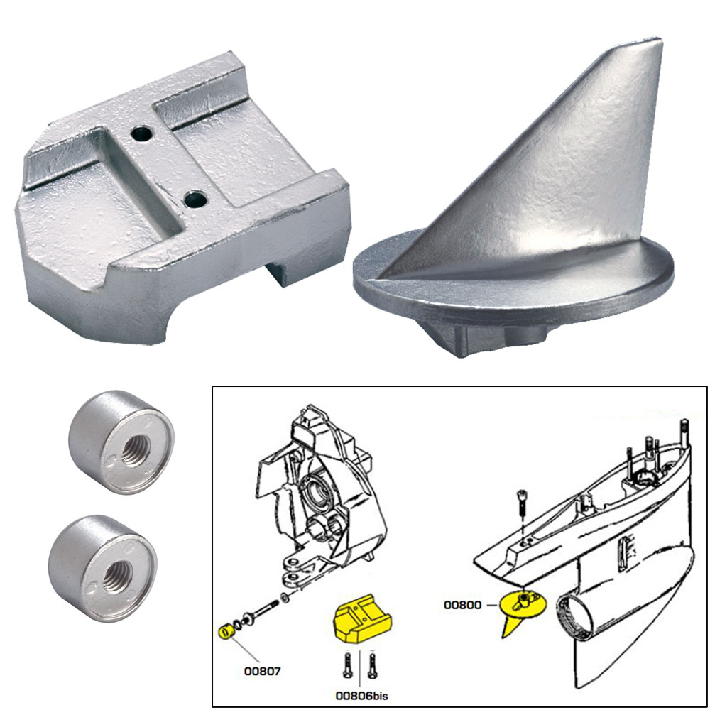 Tecnoseal Anode Kit w/Hardware - Mercury Alpha 1 Gen 1 - Zinc