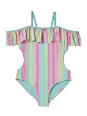 Wonder Nation Girls 4-18 & Plus Flounce Striped One-Piece Swimsuit with UPF 50+