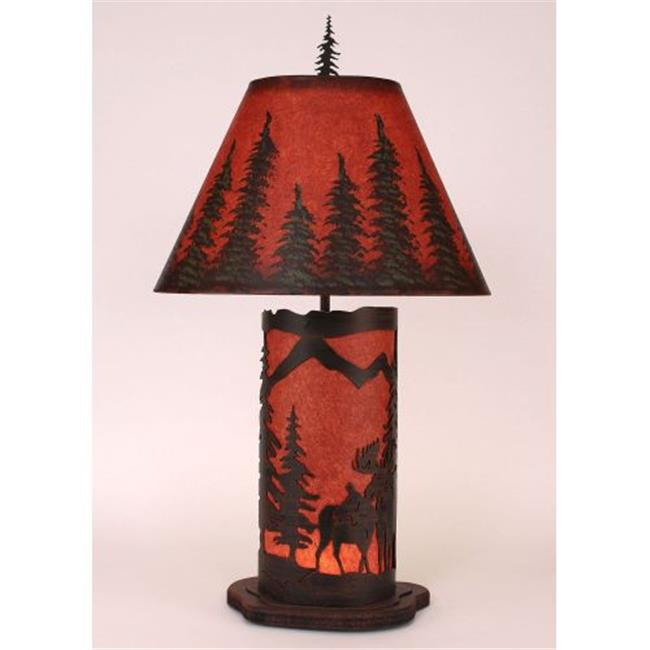 Coast Lamp Manufacturer 15-R6B Burnt Sienna Small Moose Scene Table Lamp with Night Light - 31.5 in.