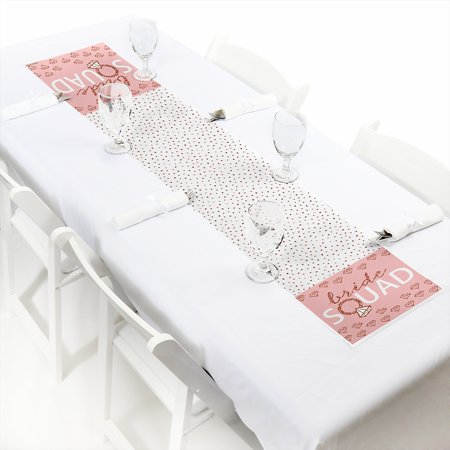 Bridal Party Table (Bride Squad - Petite Rose Gold Bridal Shower or Bachelorette Party Paper Table Runner - 12