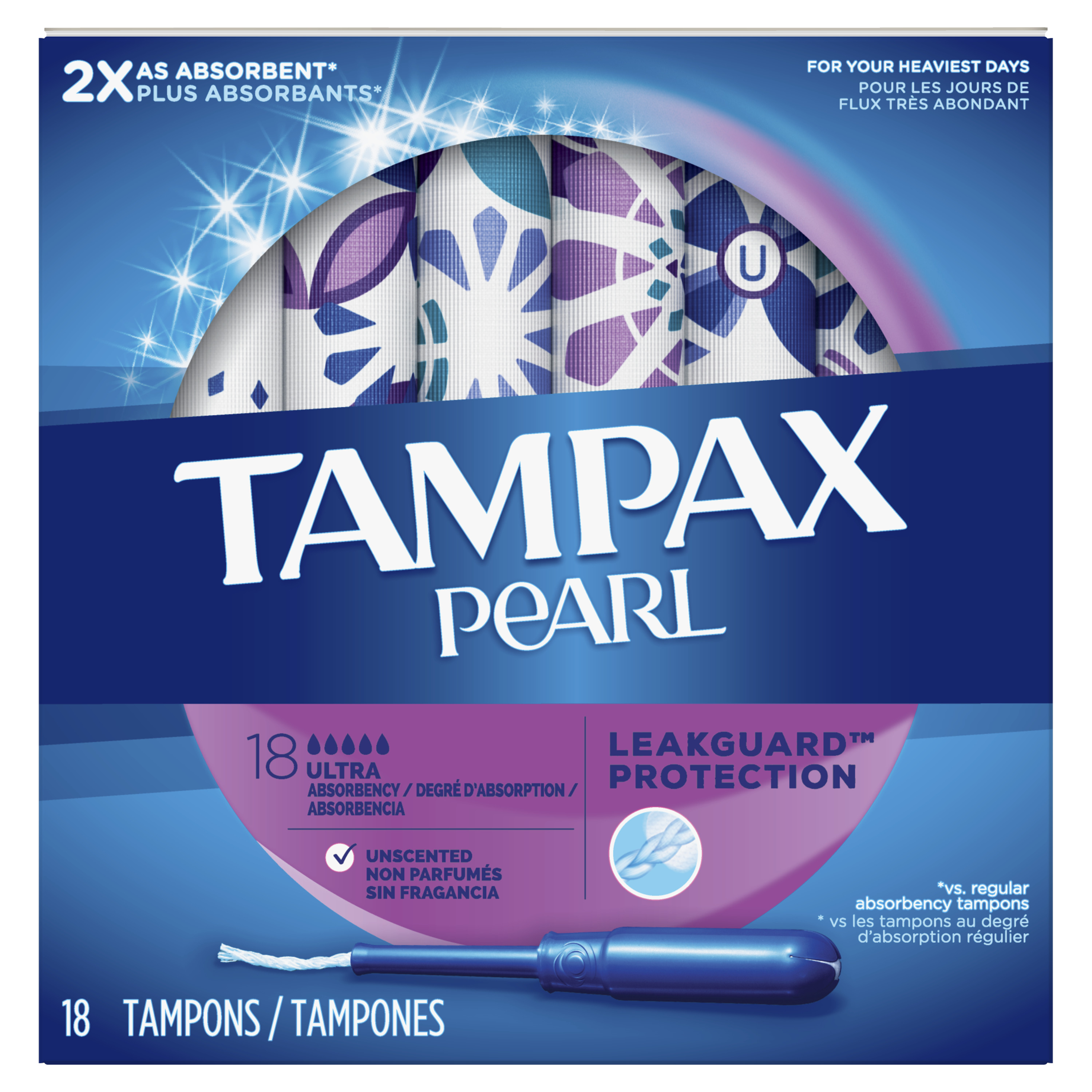 TAMPAX Pearl Tampons Ultra Plastic Unscented, 18 Count