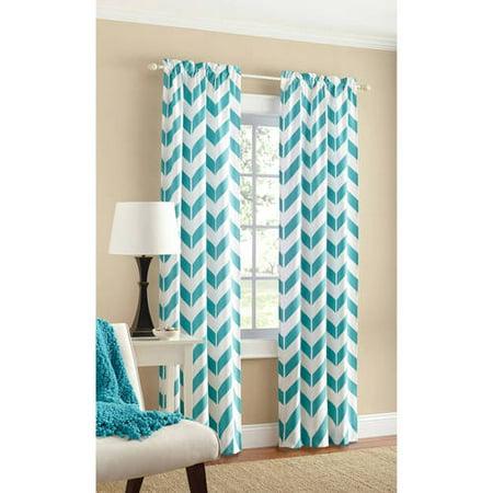 Curtains Ideas chevron curtains blue : Mainstays Chevron Curtain With Bonus Panel, Set of 2 - Walmart.com