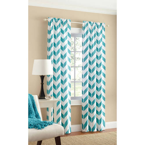 Mainstays Chevron Polyester/Cotton Curtain With BONUS Panel Available In  Multiple Colors And Sizes   Walmart.com