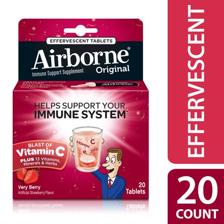 Airborne Vitamin C Tablets, Very Berry, 1000mg - 20 Effervescent Tablets