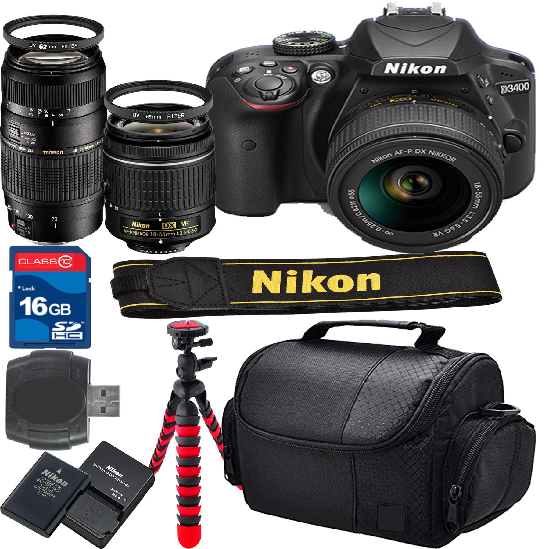 Nikon D3400 Bundle + 18-55mm VR Lens + 16gb High Speed Memory Card + Card reader  + UV Filter + Camera Gadget Bag(Certified Refurbished)
