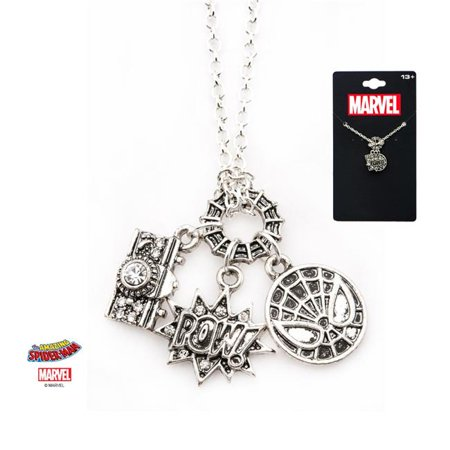 Base Metal Spider-Man Heart Pendant with - Plated Base Metal Chain