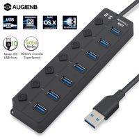 AUGIENB 7 Port USB 3.0 Hub with Individual Switches & LEDs, 5 Gbps High Speed USB Data Transfer Charging Hub with Power Supply for Notebook PC Mobile HDD USB Flash Drives