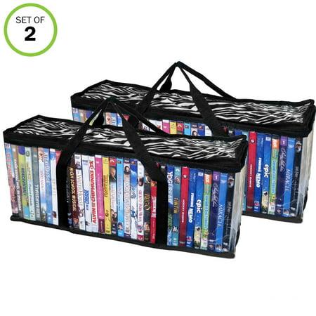Evelots Portable DVD Blu-Ray-Video Games- Storage Bags-See Thru-Zebra Top-Set/2