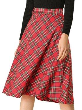 Women's Plaid High Waist Belted Vintage A-Line Midi Skirts M Dark Blue