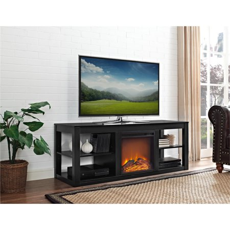 Parsons Electric Fireplace Tv Stand And Deluxe Desk Bundle