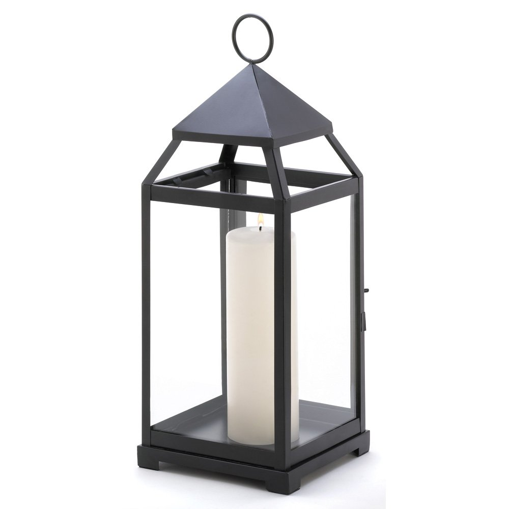 Black Candle Lantern, Contemporary Decor Outdoor Lanterns For Candles    Large   Walmart.com