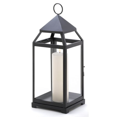 Black Candle Lantern, Contemporary Decor Outdoor Lanterns For Candles - Large ()