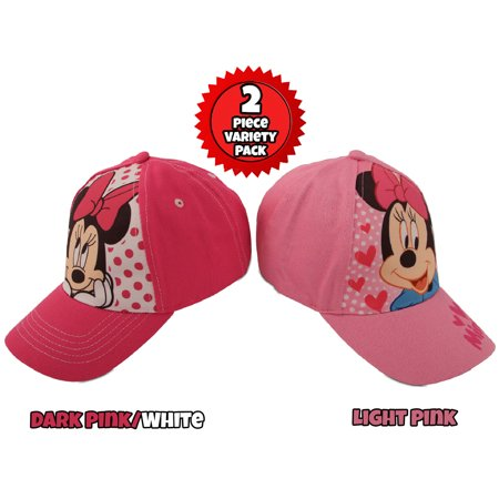 Disney Little Girls Minnie Mouse Character Cotton Baseball Cap, 2 Piece Design Set, Pink, Age 2-7