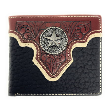Texas Concho (Western Genuine Leather Floral Tooled Texas Star Concho Mens Short Bifold Wallet)
