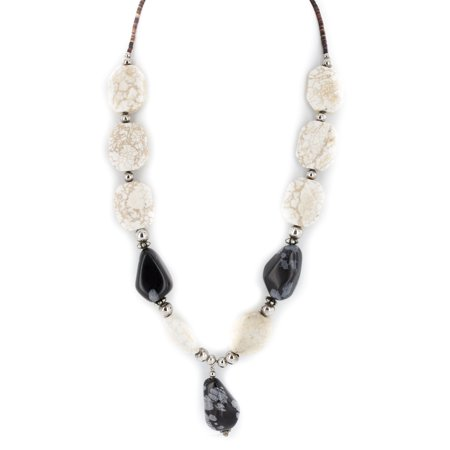 Certified Authentic Navajo .925 Sterling Silver Natural Snowflake Obsidian Native American Necklace - Obsidian Turquoise Pendant