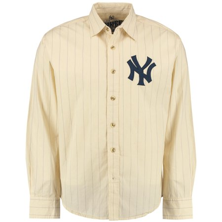 New York Yankees Red Jacket Knickerbocker Woven Long Sleeve Button-Up Shirt - Natural