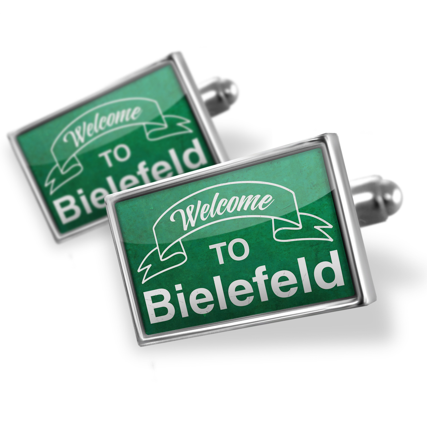 Cufflinks Green Sign Welcome To Bielefeld - NEONBLOND