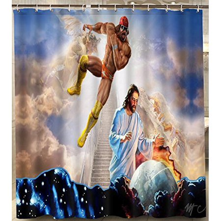 Ganma Macho Man Randy Savage Jesus Set Shower Curtain Polyester Fabric Bathroom Shower Curtain 66x72 - Man Shower