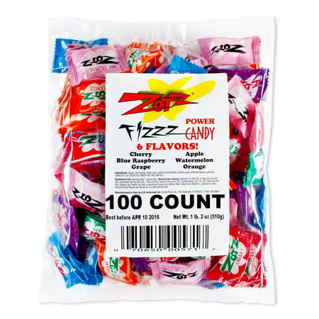 12 PACKS : Zotz Fizzy Candy Bag, Assorted Flavors, 100 Count