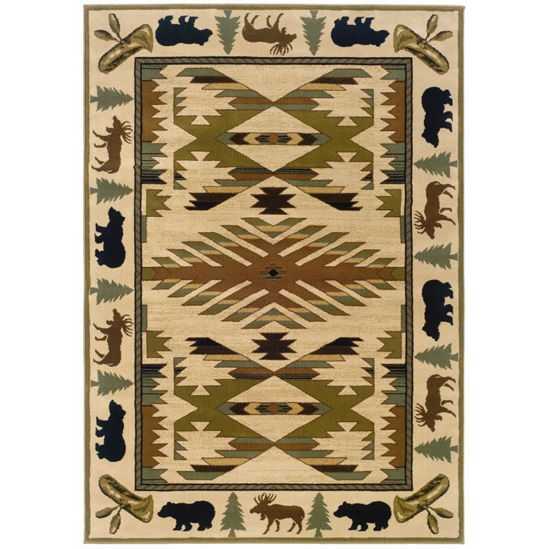 Sphinx Hudson Area Rugs - 1072A Southwestern Lodge Ivory Moose Canoes Trees Border Rug