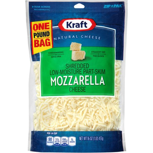 Kraft Shredded Low-Moisture Part-Skim Mozzarella Cheese, 16 oz