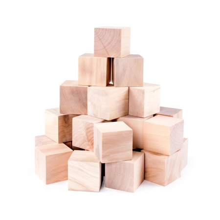 Halloween Wood Blocks (Unfinished Wood Blocks Cubes for Arts & Crafts Toy Projects, Mini Baby Size Puzzle Making Set (24)