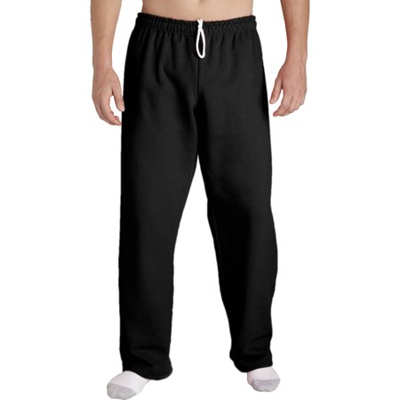 Durable Single Bottom (Gildan Men's Open Bottom Pocketed Jersey Pant with Drawstring)