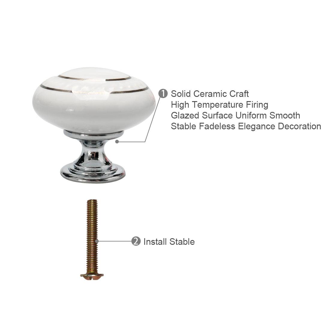 Ceramic Vintage Knobs Drawer Pull Handle Cupboard Dresser 6pcs Gold Circle White - image 4 of 8