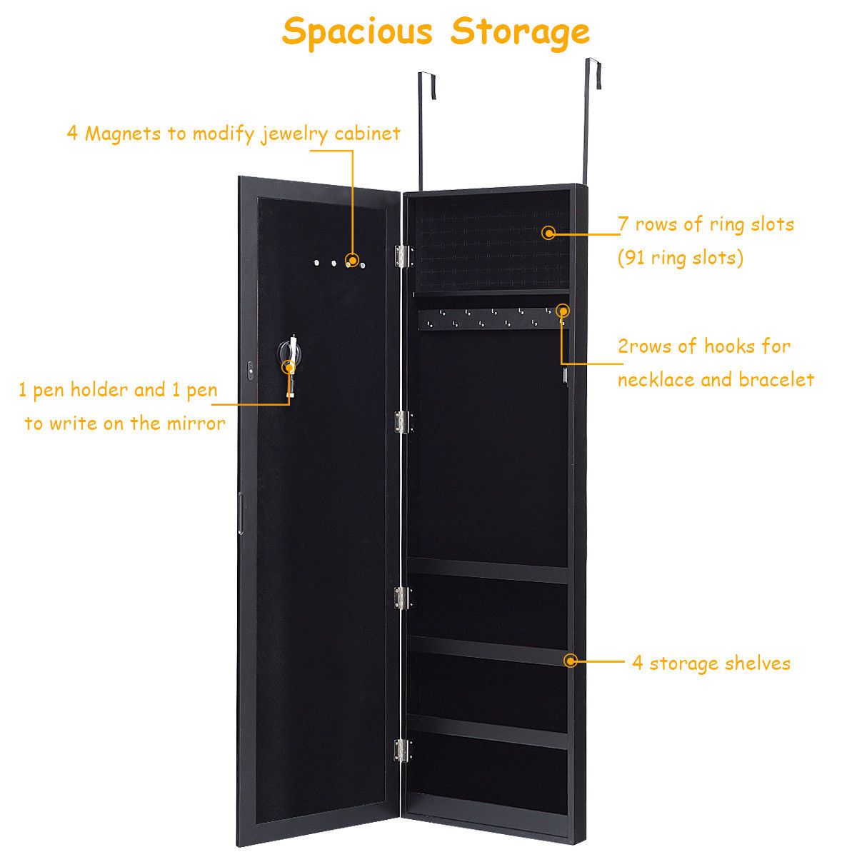 Costway Wall Door Mounted Magnetic Mirrored Jewelry Cabinet Armoire