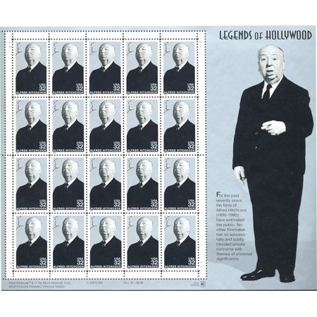 Alfred Hitchcock: Legends of Hollywood, Full Sheet of 20 x 32-Cent Postage Stamps, USA 1998, Scott