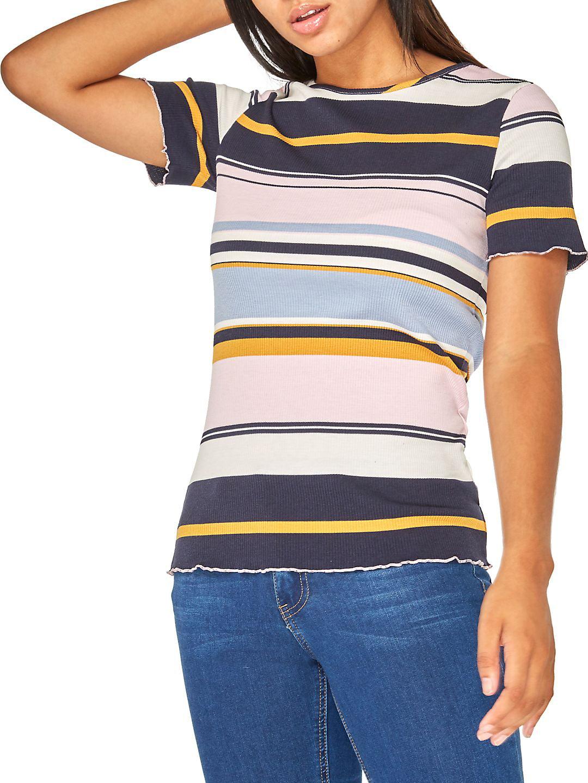 Multi-Striped Short Sleeve Top