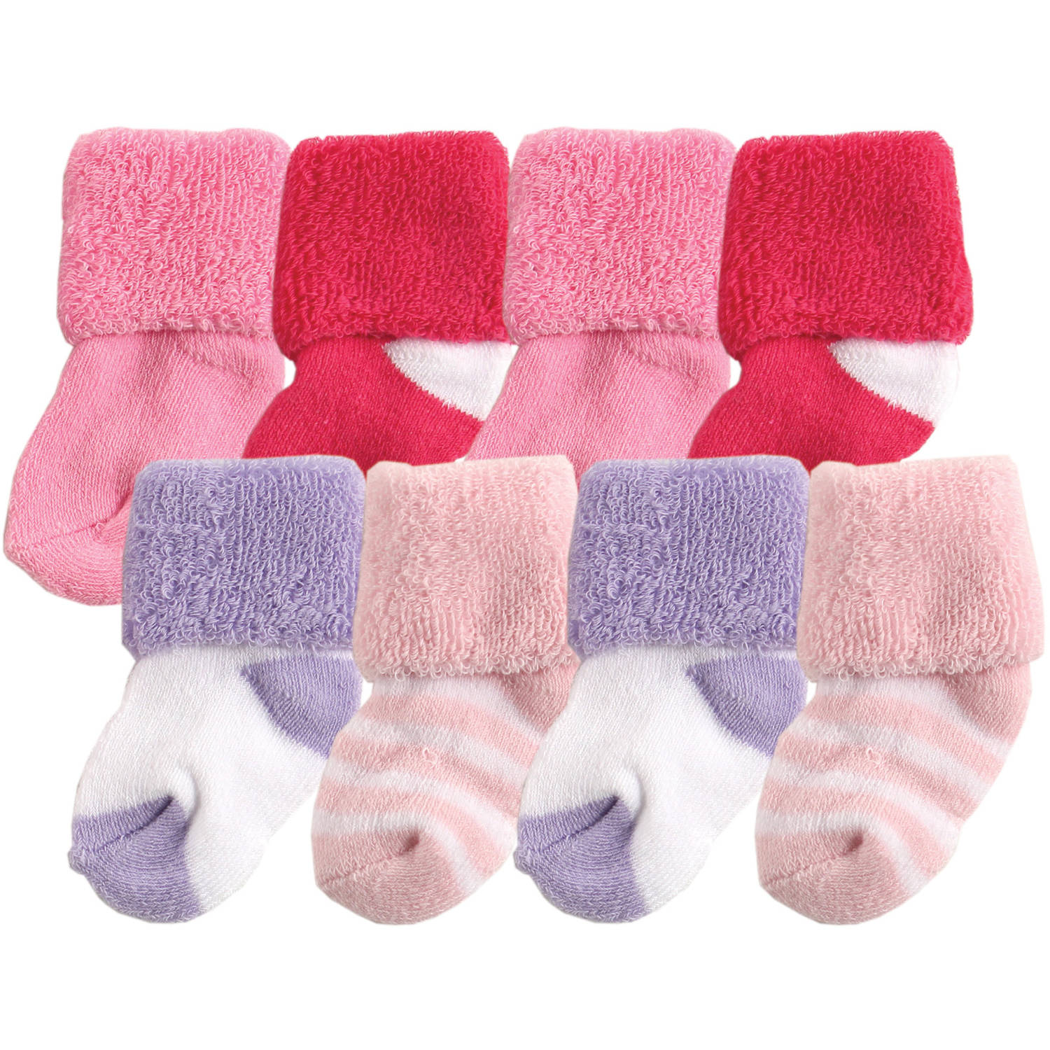 Luvable Friends Newborn Baby Girl Socks in Washbag 4-Pack