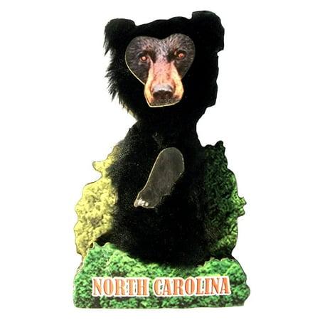 Bobble Head Black Bear North Carolina Artwood Fridge Magnet
