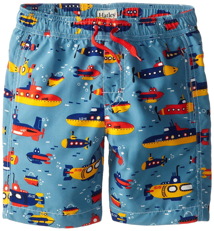 hatley little boys' submarines swim trunks, blue, 7