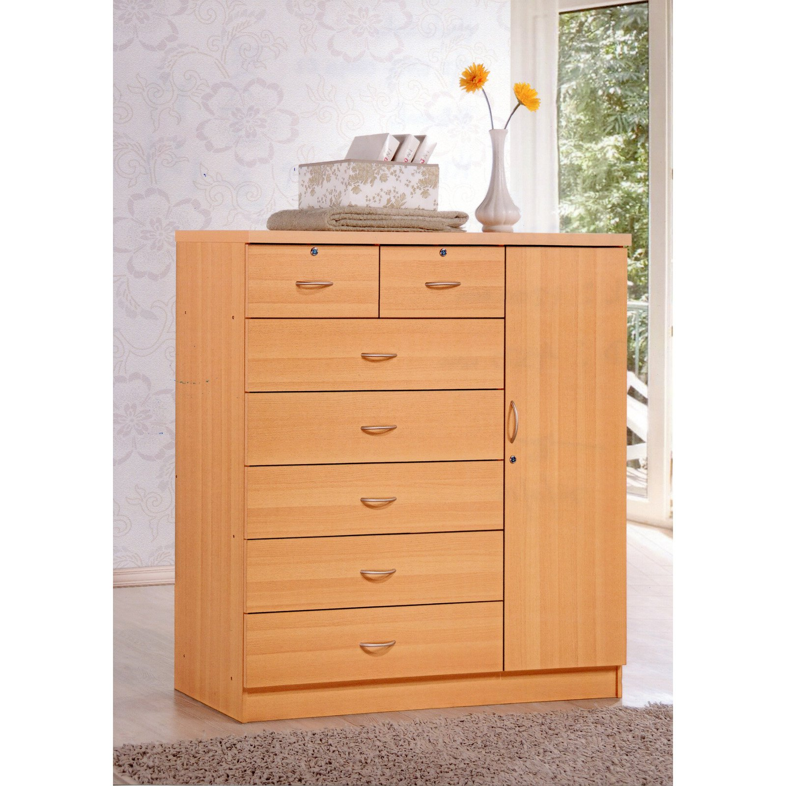 Hodedah Imports 7 Drawer 1 Door Chest